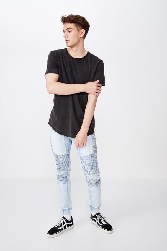 Washed Curved T Shirt, WASHED BLACK