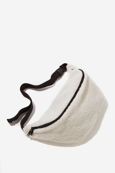 Oversized Bumbag, CREAM TEDDY FLEECE
