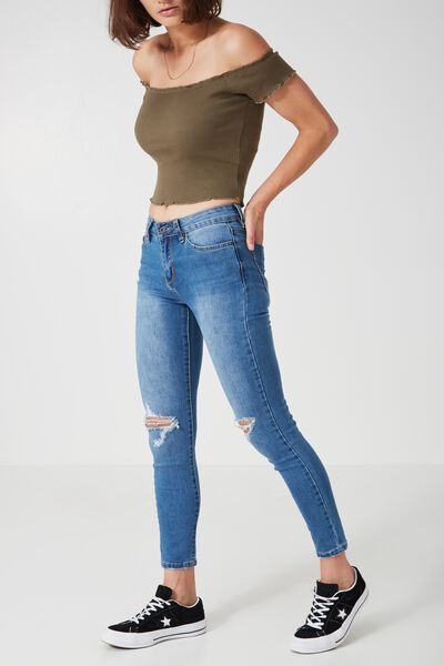 The Mid-Rise Skinny Jean, BLUE LAKE_CROP WORN