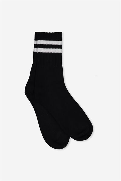 Retro Sport Sock, BLACK WHITE STRIPE