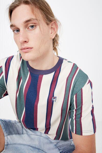 Fila Lcn Regular Stripe T Shirt, WASHED NAVY/OLIVE  STRIPE