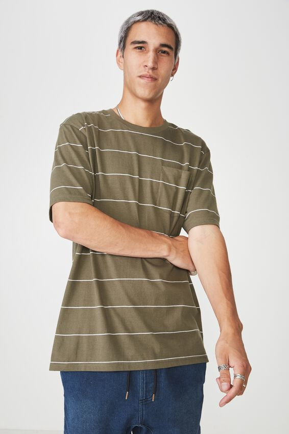 Stripe Pocket T Shirt, CLOVER/WHITE STRIPE