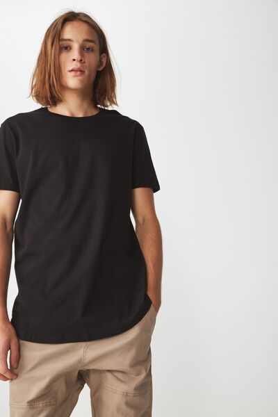 The Curved Tall Tee, BLACK