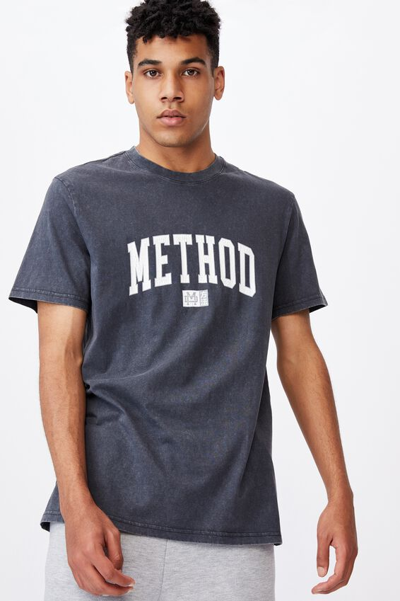 Regular Graphic T Shirt, WASHED BLACK/METHOD