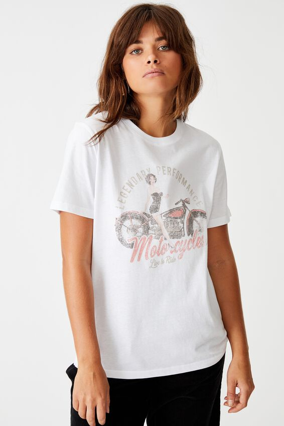 Relaxed Graphic T Shirt, WHITE/RETRO GIRL
