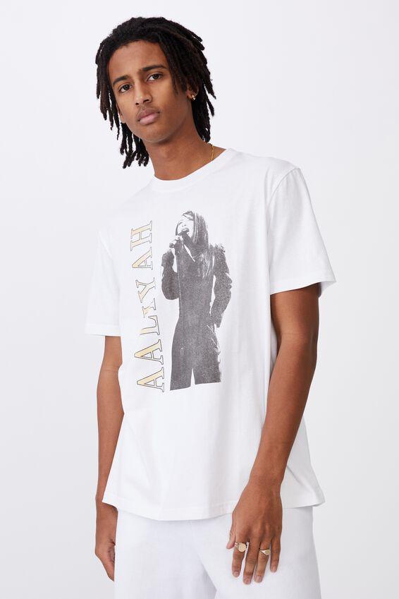 Regular License T Shirt, LCN MT WHITE/AALIYAH