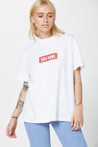90S True Tee, SELF LOVE_WHITE