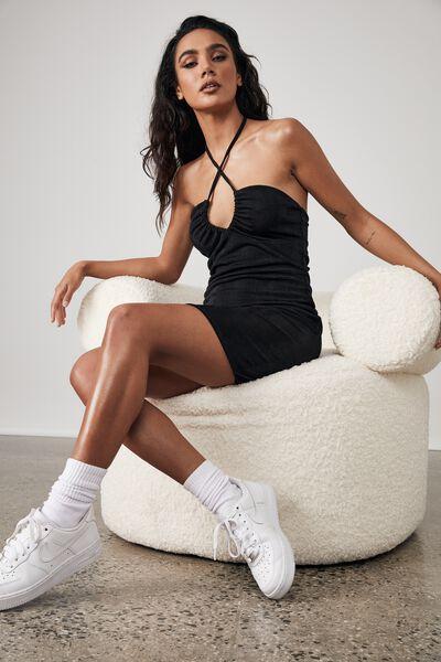 Slinky Halter Neck Dress, BLACK