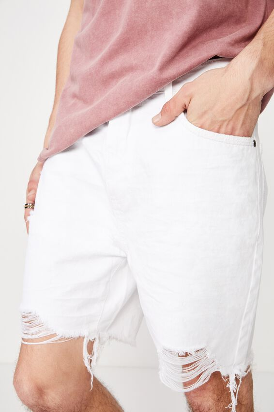 Ripped Rigid Denim Short, WHITE