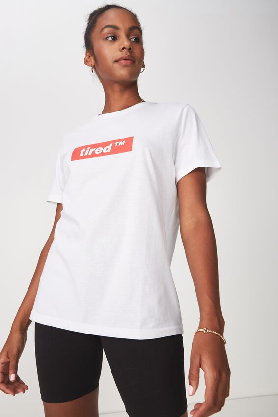 Relaxed Graphic T Shirt, WHITE_TIRED TM