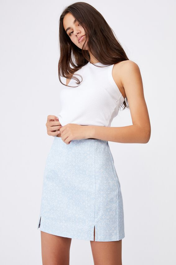 Double Split Mini Skirt, BANDANA SKYWAY DITSY