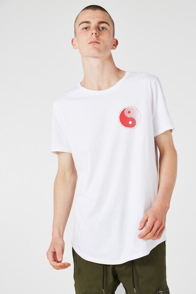Curved Tail Tee, WHITE/YIN YANG