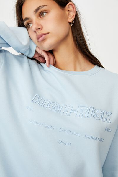 Oversized Graphic Crew, SKYWAY BLUE/HIGH RISK