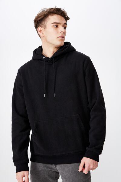 Polar Fleece Hoodie, BLACK