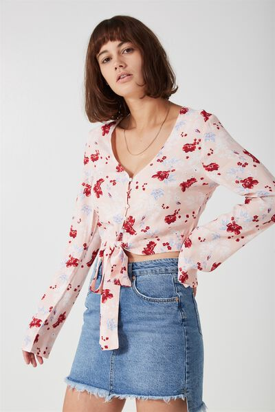 Tootsie Longsleeve Tie Front Blouse, WINTER FLORAL_ANGEL WING