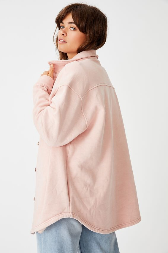 Fleece Shacket, WASHED CORAL PINK