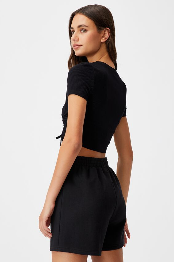 Ruched Short Sleeve Top, BLACK