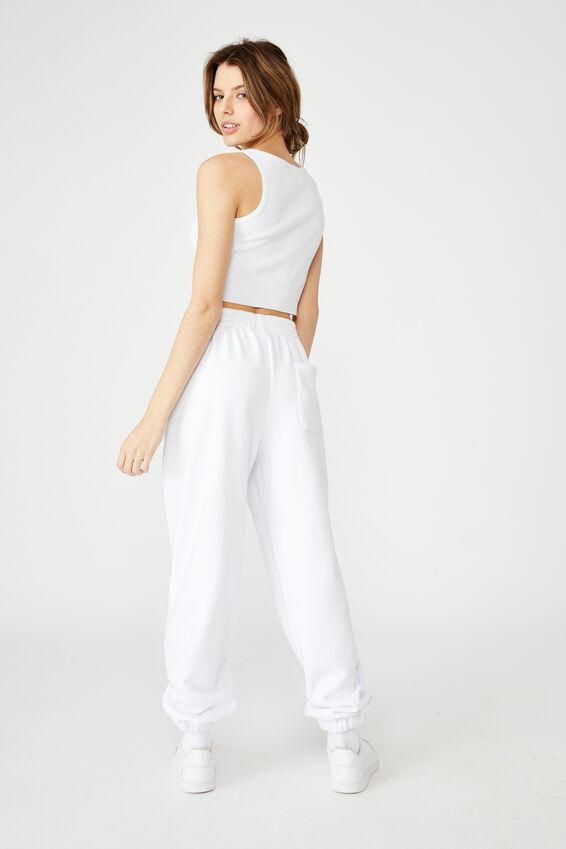 Super Slouchy Track Pant, WHITE