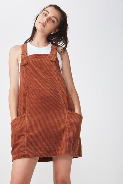Cord Overall Dress, GINGER