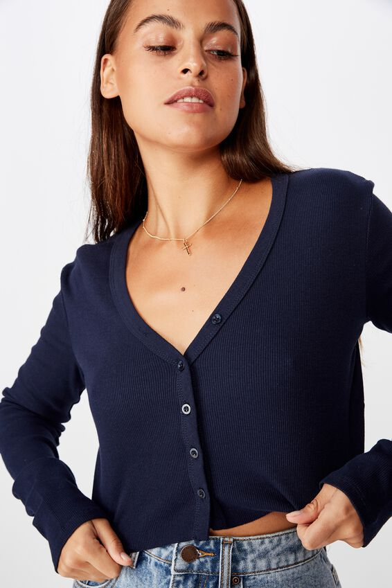 Raw Edge Cardi, FRENCH NAVY