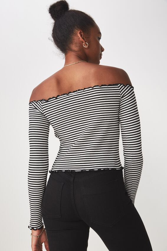 Stripe Rib Off Shoulder Long Sleeve Top, BLACK/WHITE STRIPE