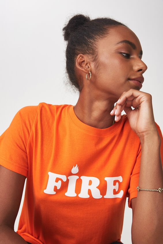 Relaxed Graphic T Shirt, RED_ORANGE FIRE FLAME