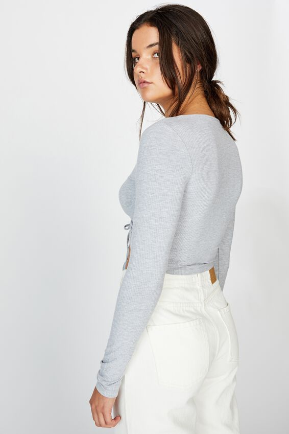 Long Sleeve Pull Front Top, GREY MARLE