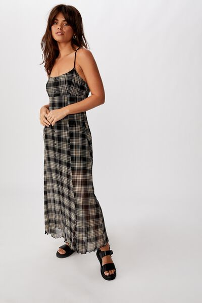 Mesh Maxi Dress, LORETA CHECK_BLK NEUTRAL