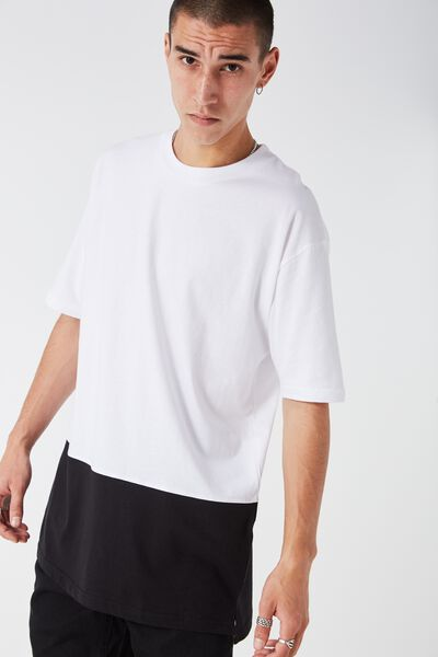 Split Tee, WHITE/BLACK