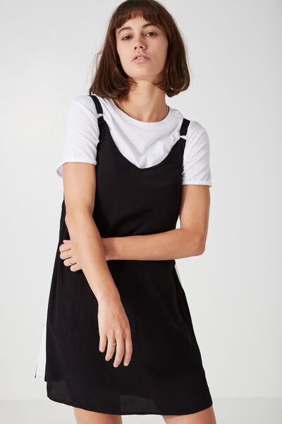Sport Stripe Slip Dress, BLACK W /WHITE STRIPE