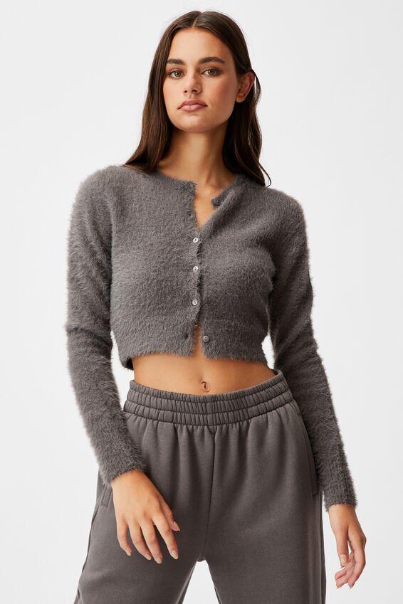 Fluffy Knit Slim Fit Cardi, PLUM KITTEN