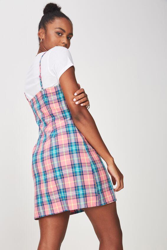 Waisted Slip Dress, PINK TEAL CHECK