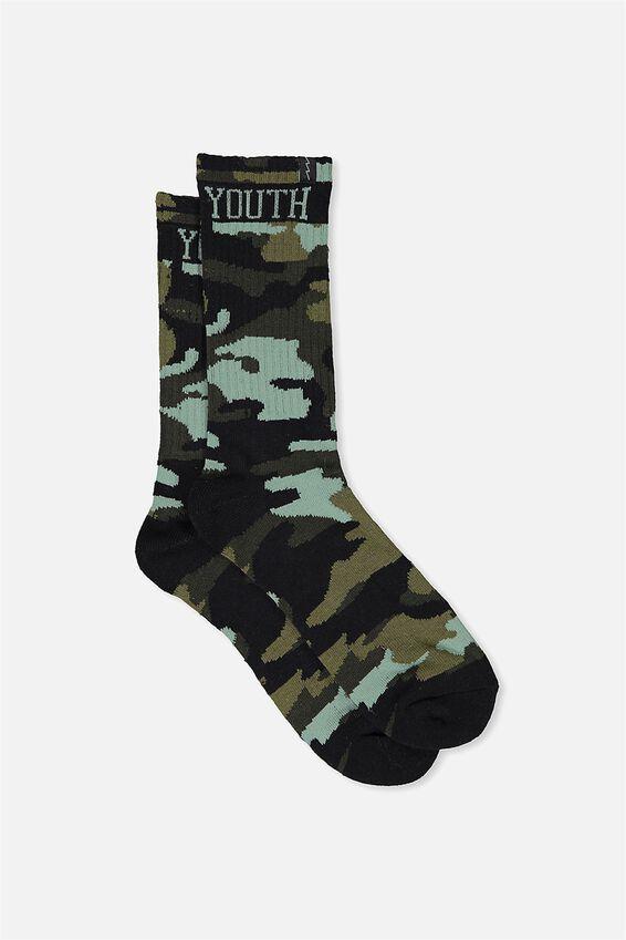 Retro Ribbed Socks, CAMO-YOUTH
