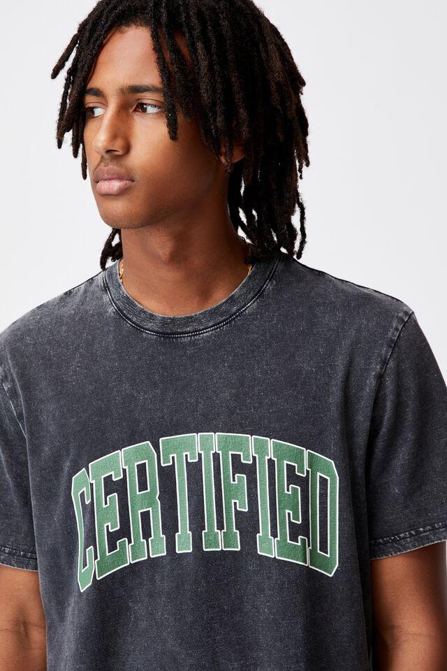 Regular Graphic T Shirt, WASHED BLACK/CERTIFIED