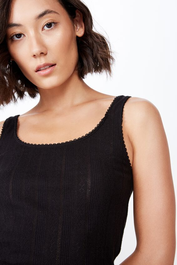 Pointelle Tank Plain, BLACK