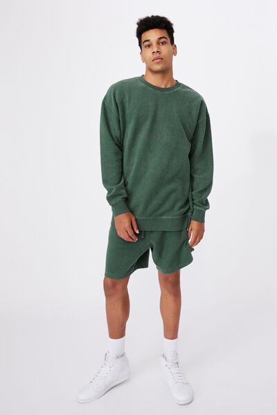 Reverse Fleece Crew, WASHED PINE TEAL