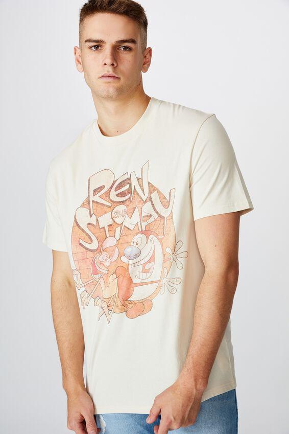 Regular License T Shirt, IVORY REN AND STIMPY