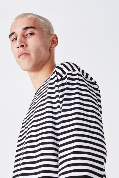 Ls Shaded Stripe Tee, WHITE/BLACK