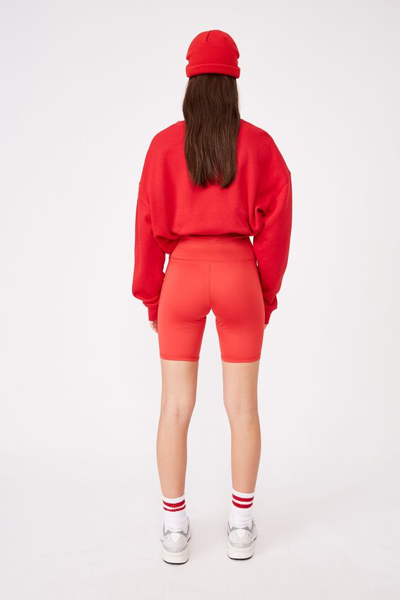 High Waisted Elevated Bike Short, RED APPLE