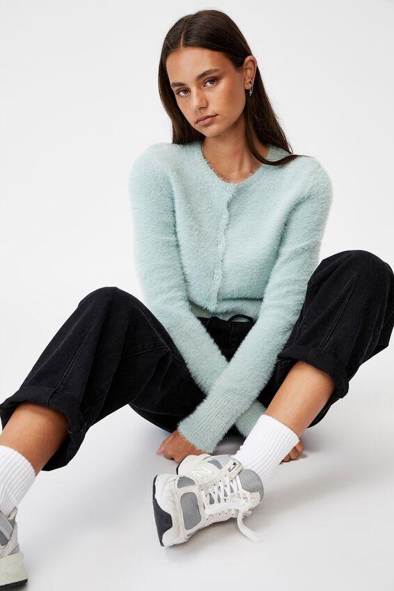 Fluffy Knit Slim Fit Cardi, ETHER