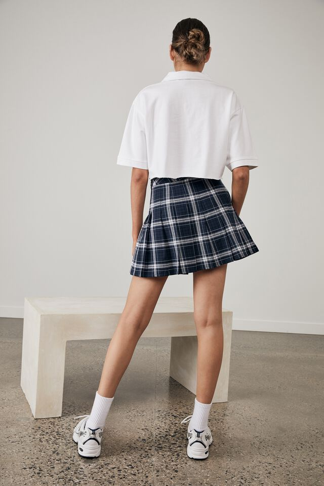 Pleated Skirt, COLLEGE CHECK_NAVY