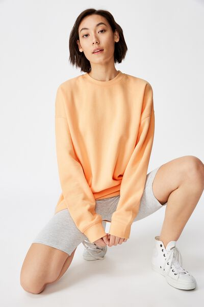 Oversized Crew Neck Sweater, APRICOT SORBET