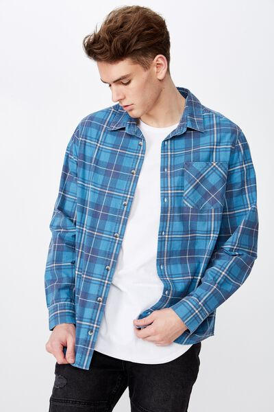 Long Sleeve Check Shirt, INDIGO CHECK