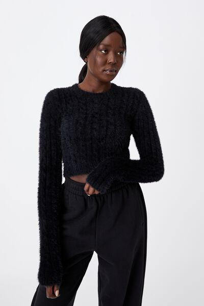 Fluffy Knit Crop Jumper, BLACK