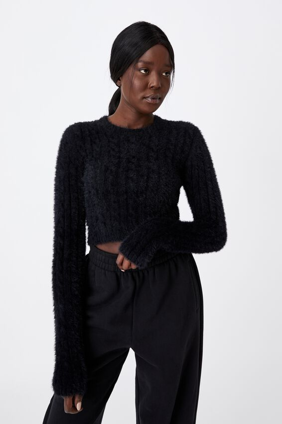 Fluffy Knit Crop Jumper, BLACK