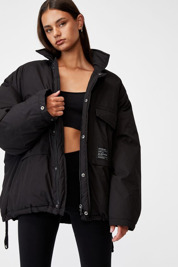 Oversized Padded Jacket, BLACK