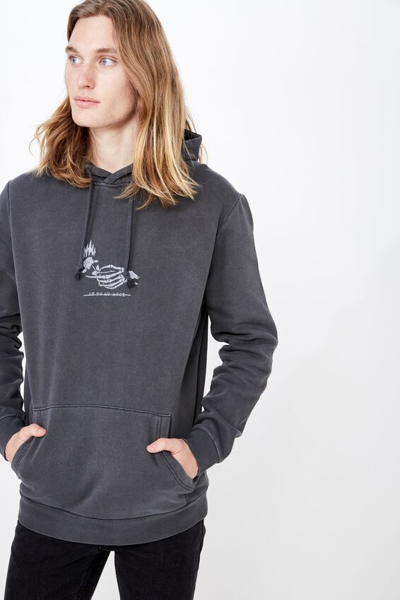 Graphic Hoodie, WASHED BLACK/NO GOOD
