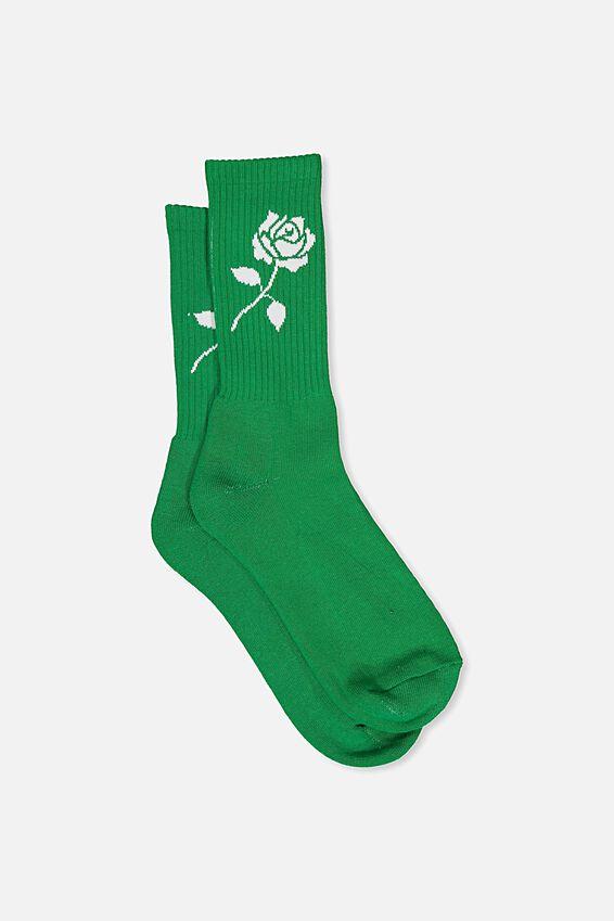 Retro Ribbed Socks, GREEN LAKE_WHITE ROSE
