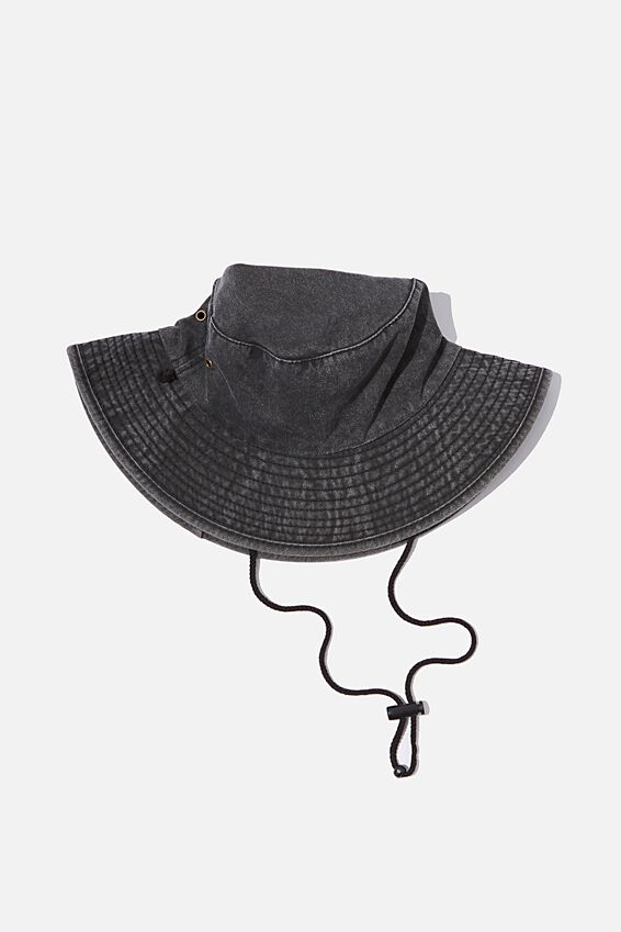 Drawstring Bucket Hat, WASHED BLACK