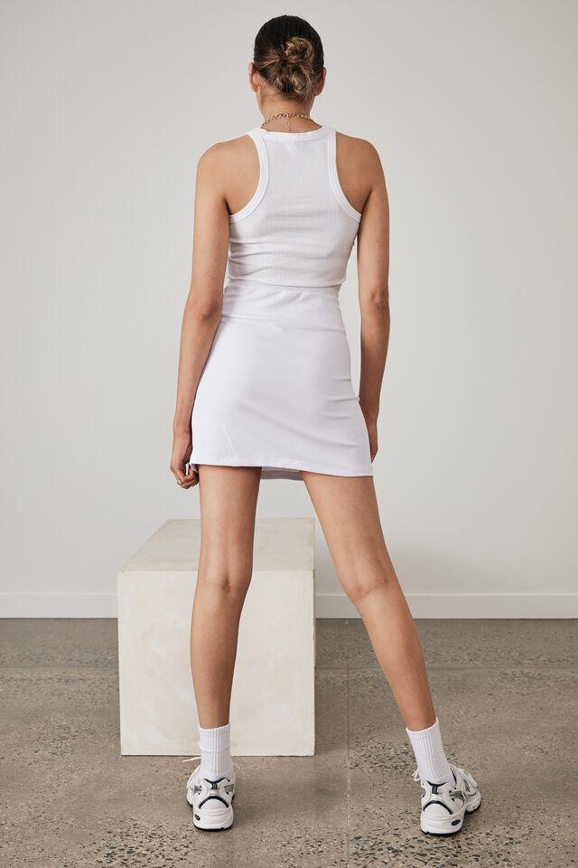 Ruched Side Split Skirt, WHITE
